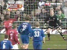 Manchester United vs Leicester City, Old Trafford 2004. That's me under the score board!